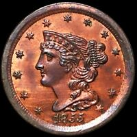 1855 BRAIDED HAIR HALF CENT HIGHLY UNCIRCULATED PHILLY RED M