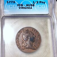 1773 VIRGINIA HALF PENNY ICG   AU58 HUNDREDS OF UNDERGRADED