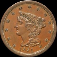 1851 BRAIDED HAIR HALF CENT CLOSELY UNCIRCULATED PHILADELPHI