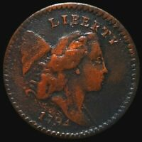 1794 LIBERTY CAP HALF CENT LIGHTLY CIRCULATED BUST KEY DATE