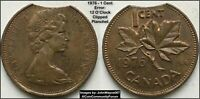 1976 CANADA 1 CENT PENNY 12 O'CLOCK CLIPPED PLANCHET ERROR COIN