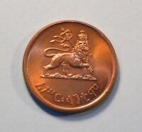 1936 ETHIOPIA 10 CENT COPPER COIN KING HAILE SELASSIE CROWNED LION OF JUDAH