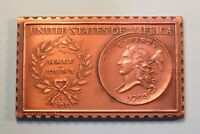 1793 UNITED STATES LIBERTY CAP 1/2 HALF CENT NUMISTAMP MEDAL COIN 1976 MORT REED