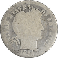 1894 BARBER SILVER DIME, AG, UNCERTIFIED