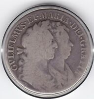 1689    WILLIAM  AND   MARY   HALF  CROWN   2/6D     SILVER