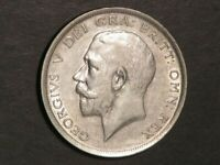 GREAT BRITAIN 1918 1/2 CROWN GEORGE V SILVER VF XF