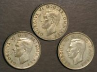 GREAT BRITAIN 1942 1/2 CROWN SILVER VF XF   3 COINS