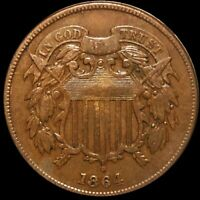 1864 TWO CENT PIECE NEARLY UNCIRCULATED PHILADELPHIA SHINY 2C COPPER COLLECTIBLE