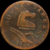 1787 NEW JERSEY COLONIAL COPPER COIN COLLECTIBLE. LIGHTLY CIRCULATED COIN