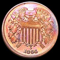 1864 TWO CENT PIECE APPEARS UNCIRCULATED PHILLY COLORFUL 2C COPPER COLLECTIBLE