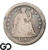 1841-O SEATED LIBERTY HALF DIME, BETTER DATE COLLECTOR COIN NEW ORLEANS ISSUE
