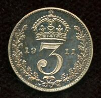 1911 PROOF GREAT BRITAIN 3 PENCE SILVER COIN THREEPENCE