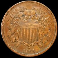 1866 TWO CENT PIECE NEARLY UNCIRCULATED PHILADELPHIA HIGH END 2C COPPER COIN NR