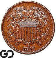 1867 TWO CENT PIECE TOUGH DATE COLLECTOR COIN