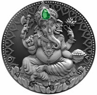 GANESHA   WORLD CULTURES 2 OZ SILVER COIN ANTIQUE FINISH CAM