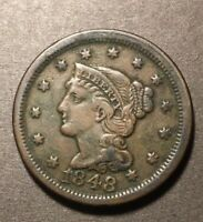 1848 US LARGE CENT BRAIDED HAIR HIGHER GRADE BETTER DATE US