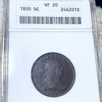 1800 DRAPED BUST HALF CENT ANACS   VF20 HUNDREDS OF UNDERGRADED COINS UP NO RES