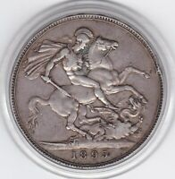 1895   QUEEN  VICTORIA   LARGE  CROWN / FIVE SHILLING SILVER