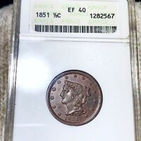 1851 BRAIDED HAIR HALF CENT ANACS   EF40 HUNDREDS OF UNDERGRADED COINS UP NO RES