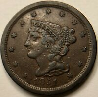 SCARCE OLD 1851 COPPER BRAIDED HAIR CORONET US UNITED STATES