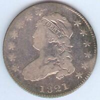 1821 U.S. CAPPED BUST QUARTER   SILVER   CLEANED   GOOD
