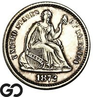 1872 SEATED LIBERTY HALF DIME PROOF A MERE 950 PR MINTED