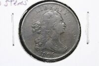 1806 SMALL 6 NO STEMS DRAPED BUST HALF CENT CHOICE VF
