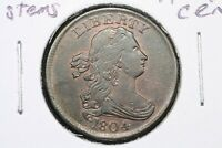 1804 PLAIN 4 NO STEMS DRAPED BUST HALF CENT RB CHOICE ALMOST UNCIRCULATED