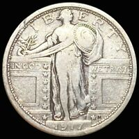 1917 TY1 STANDING QUARTER ABOUT UNCIRCULATED PHILLY AU KEY D