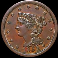 1853 BRAIDED HAIR HALF CENT APPEARS UNCIRCULATED PHILLY MS B