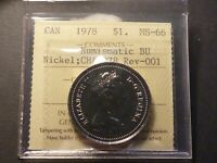 NICKEL DOLLAR 1978 PROOF LIKE STRIKE ICCS MS 66 NBU WITH CHARLTON NUMBER