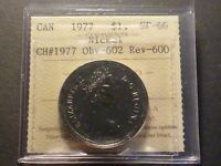 CANADA NICKEL DOLLAR 1977 SPECIMEN STRIKE ICCS SP 66  WITH CHARLTON NO.