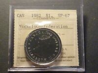 CANADA NICKEL DOLLAR 1982 CONSTITUTION SPECIMEN STRIKE ICCS SP 67 OLDER CERT.