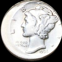 1936 MERCURY SILVER DIME HIGHLY UNCIRCULATED 15  OFF CENTER