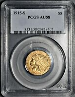 1915 S $5 INDIAN HEAD GOLD HALF EAGLE COIN CERTIFIED BY PCGS