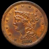 1856 BRAIDED HAIR HALF CENT APPEARS UNCIRCULATED PHILLY MS B