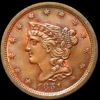 1851 BRAIDED HAIR HALF CENT APPEARS UNCIRCULATED PHILLY MS B