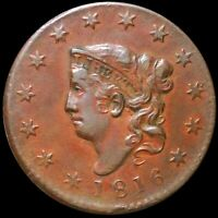 1816 CORONET HEAD LARGE CENT ABOUT UNCIRCULATED PHILADELPHIA