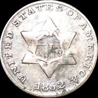 1852 THREE CENT PIECE ABOUT UNCIRCULATED PHILADELPHIA AU 3C SILVER COLLECTIBLE