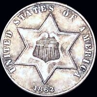 1862 THREE CENT SILVER APPEARS UNCIRCULATED PHILADELPHIA MS