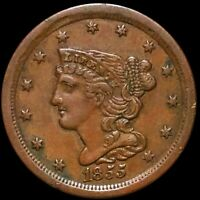 1855 BRAIDED HAIR HALF CENT APPEARS UNCIRCULATED PHILADELPHI
