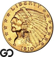 1910 QUARTER EAGLE $2.5 GOLD INDIAN BU      FREE SHIPPING