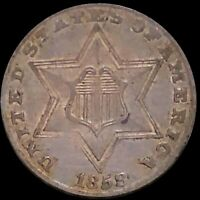 1858 THREE CENT PIECE CLOSELY UNCIRCULATED PHILADELPHIA HIGH END 3C SILVER COIN