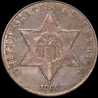1860 THREE CENT PIECE NEARLY UNCIRCULATED PHILADELPHIA HIGH END 3C SILVER COIN
