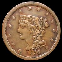 1856 BRAIDED HAIR HALF CENT CLOSELY UNCIRCULATED PHILLY HIGH