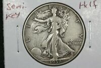 1938 D WALKING LIBERTY HALF DOLLAR SEMI KEY CHOICE FINE