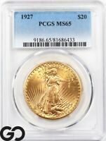1927 DOUBLE EAGLE $20 GOLD ST GAUDENS PCGS MS 65    LUSTROUS