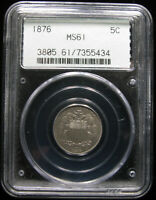 1876 SHIELD NICKEL PCGS MINT STATE 61 OGH