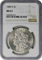 1889-S MORGAN SILVER DOLLAR MINT STATE 61 NGC