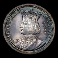 1893 ISABELLA QUARTER 25C GEM UNC GORGEOUSLY TONED  STUNNING COMMEMORATIVE